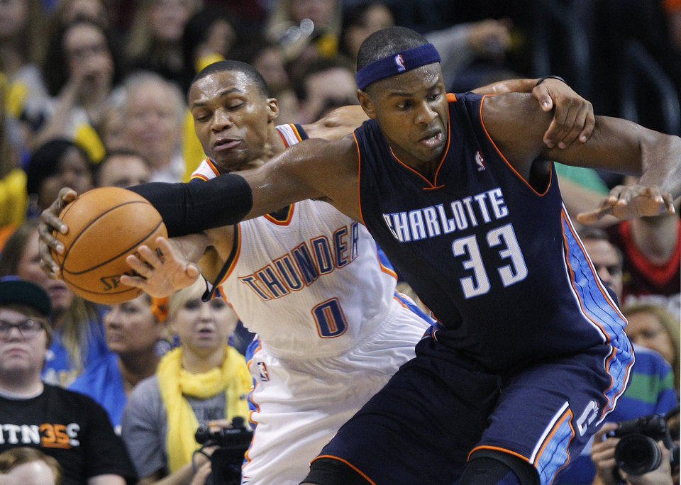 Photo -   Oklahoma City Thunder guard Russell Westbrook (0) attempts to knock the ball away from Charlotte Bobcats center Brendan Haywood (33) during the second quarter of a preseason NBA basketball game in Oklahoma City, Tuesday, Oct. 16, 2012. (AP Photo/Sue Ogrocki)