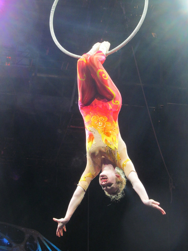 Photo - In this undated  family photo, Samantha Pitard performs a heel hang from the lyra (aerial hoop) during the Ringling Bros. and Barnum & Bailey Legends pre-show. Pitard was one of eight acrobats performing a hair-hanging stunt on Sunday May 4, 2014 during a Ringling Bros. and Barnum & Bailey circus when a clip at the top of the chandelier-like apparatus snapped. Pitard was the first of the acrobats to be released from the hospital. (AP Photo/Wayne T. Pitard)