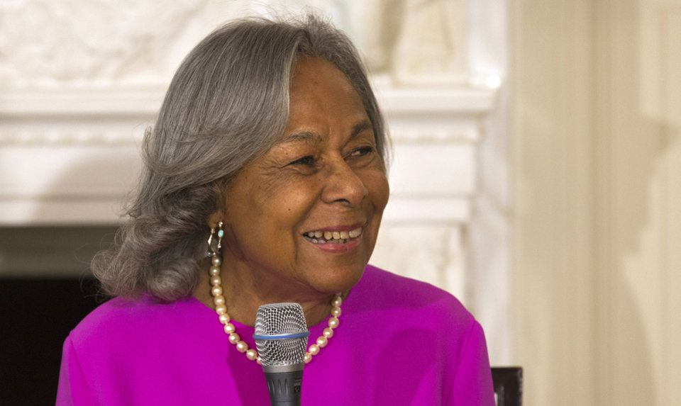 Photo - Rachel Robinson, widow of baseball great Jackie Robinson, speaks to a workshop for high school and college students with cast members of the movie