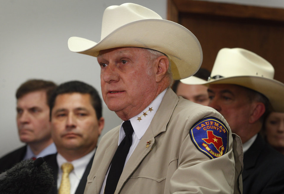 Photo - Sheriff David Byrnes speaks as local, state and federal law enforcement officers hold a news conference in Kaufman, Texas on Thursday, April 18, 2013.  Byrnes announced that Eric Lyle Williams, 46, and his wife, Kim Williams, are charged with capital murder in the the shooting deaths of Kaufman County District Attorney Mike McLelland and his wife, Cynthia, last month, and assistant prosecutor Mark Hasse in January. (AP Photo/The Fort Worth Star-Telegram, Rodger Mallison)  MAGS OUT; (FORT WORTH WEEKLY, 360 WEST); INTERNET OUT