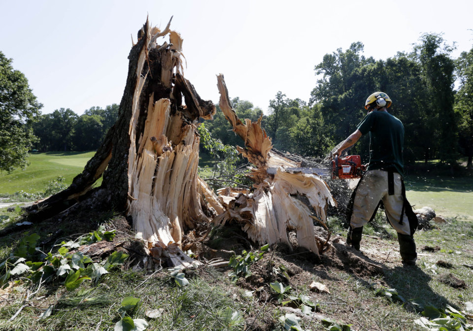 Photo -   A worker uses a chainsaw to clear a tree that fell onto the 14th fairway at Congressional Country Club in Bethesda, Md., Saturday, June 30, 2012, after a strong storm blew through overnight. The AT&T National golf tournament was postponed to allow workers to clear the course. (AP Photo/Patrick Semansky)