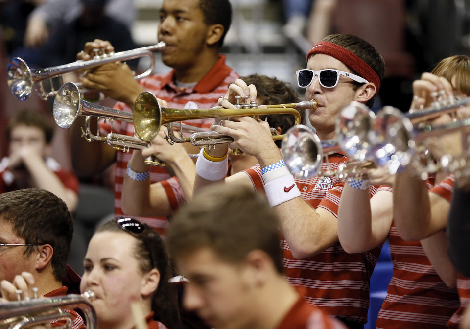 Photo - The OU band plays during a game between the University of Oklahoma and San Diego State in the second round of the NCAA men's college basketball tournament at the Wells Fargo Center in Philadelphia, Friday, March 22, 2013. San Diego State beat OU, 70-55. Photo by Nate Billings, The Oklahoman