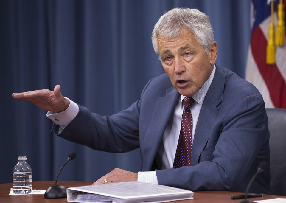Defense Secretary Chuck Hagel speaks during a news conference at the Pentagon, Wednesday, July 31, 2013. (AP Photo/Evan Vucci)