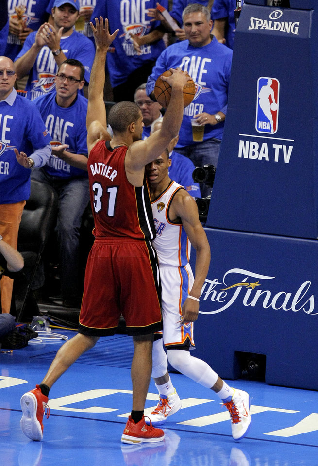 Miami's Shane Battier (31) gets in the way of Oklahoma City's Russell Westbrook (0) as he tries to celebrate during Game 1 of the NBA Finals between the Oklahoma City Thunder and the Miami Heat at Chesapeake Energy Arena in Oklahoma City, Tuesday, June 12, 2012. Photo by Sarah Phipps, The Oklahoman