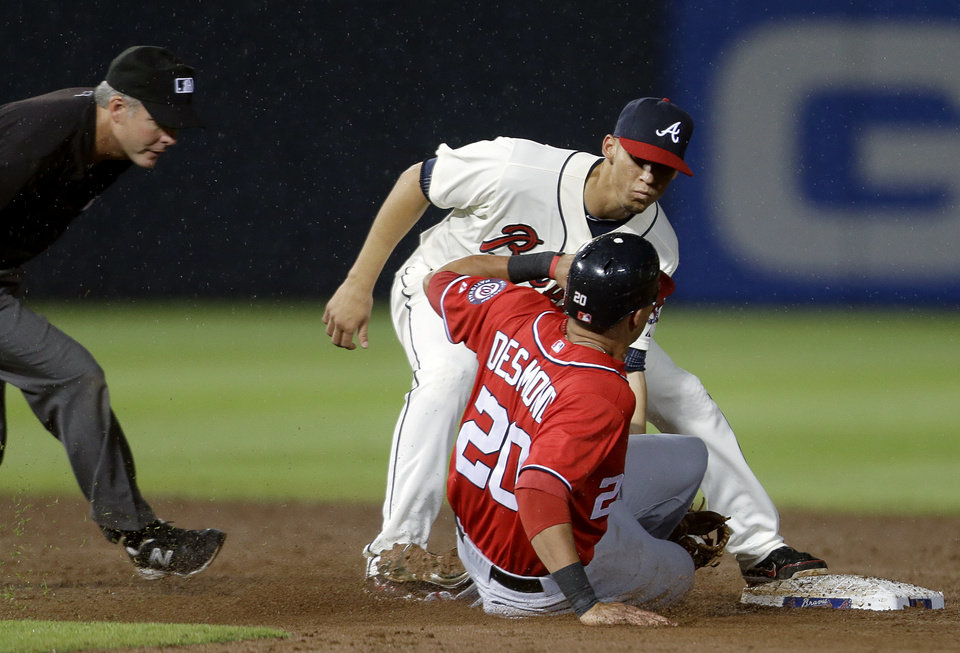 Photo -   Atlanta Braves shortstop Andrelton Simmons, rear, tags out Washington Nationals' Ian Desmond, as he's caught stealing second base in the sixth inning of a baseball game, Sunday, Sept. 16, 2012, in Atlanta. (AP Photo/David Goldman)