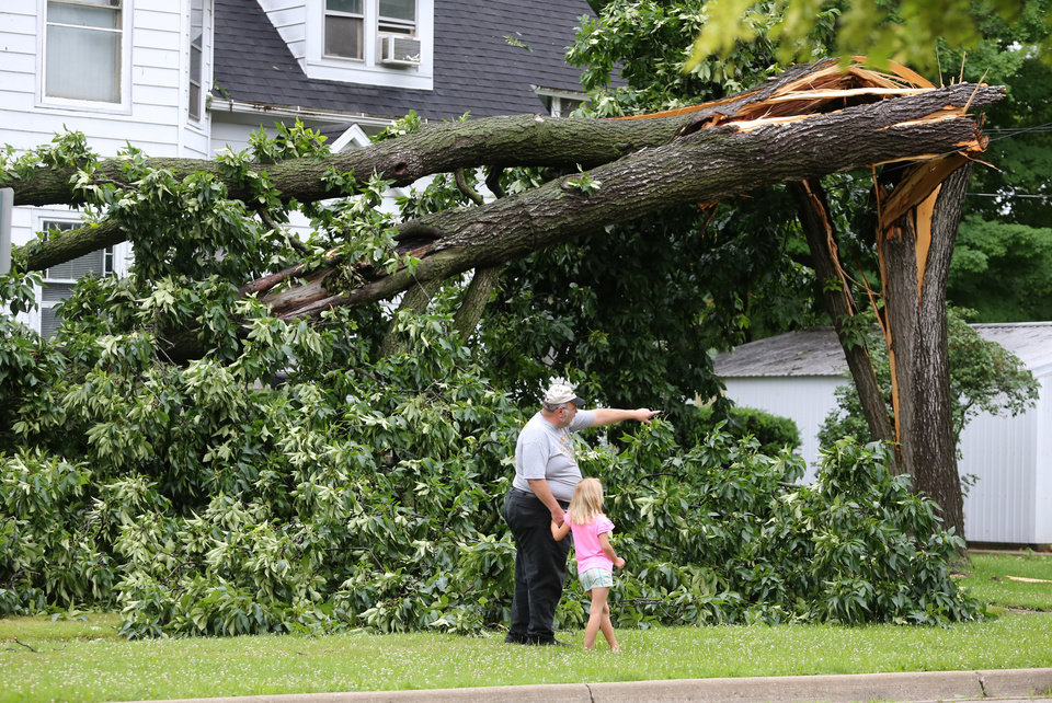 Photo - Jim Hawkins shows his 7-year-old granddaughter Katie Thompson, 7, storm damage in Vicksburg, Mich., Tuesday, July 1, 2014. Severe thunderstorms packing high winds knocked down trees and power lines across parts of Michigan, leaving more than 230,000 without power and injuring a firefighter. (AP Photo/Kalamazoo Gazette-MLive Media Group, Mark Bugnaski) ALL LOCAL TELEVISION OUT; LOCAL TELEVISION INTERNET OUT