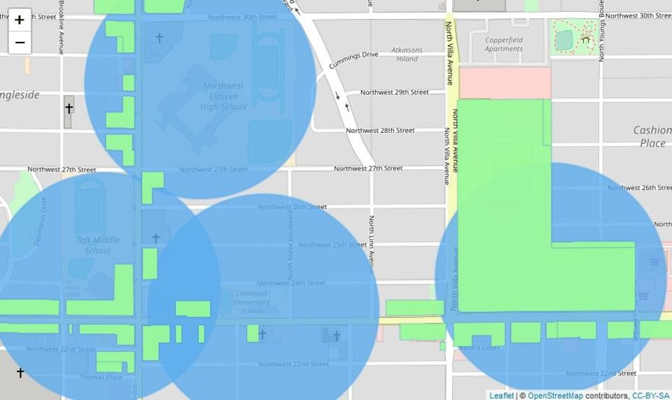 Photo -  This map shows the area around NW 23 and Villa, where Jerame Cuthbertson is setting up a dispensary. The blue dots show 1,000-foot buffers around schools, and the green shapes are areas zoned in a way that would allow dispensaries to set up in them. Cuthbertson's business will be on the southwest corner of NW 23 and Villa. [Graphic by Meg Wingerter, The Oklahoman]