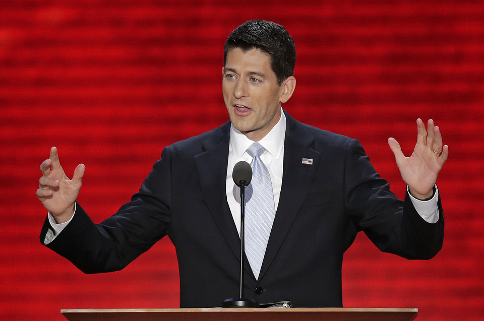 Photo -   Republican vice presidential nominee, Rep. Paul Ryan addresses the Republican National Convention in Tampa, Fla., on Wednesday, Aug. 29, 2012. (AP Photo/J. Scott Applewhite)