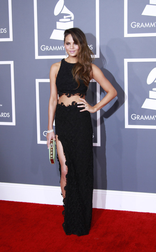Christine Teigen arrives for the 55th Annual Grammy Awards at Staples Center in Los Angeles, California, on Sunday, February 10, 2013. (Kirk McKoy/Los Angeles Times/MCT)