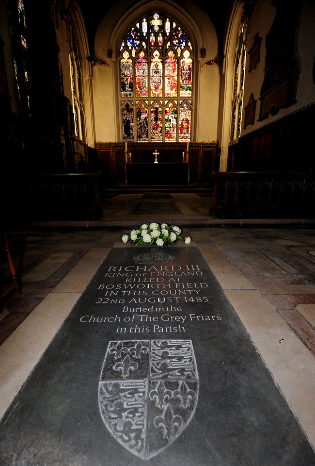 Photo - A general view of a memorial stone to King Richard III, inside Leicester Cathedral, England, Monday Feb. 4, 2013. Leicester University declared Monday that the remains  found underneath a car park last September at the Grey Friars excavation in Leicester, were