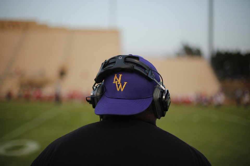 NWC assistant coach at the Northwest Classen vs. Western Heights high school football game at Taft Stadium Thursday, September 20, 2012. Photo by Doug Hoke, The Oklahoman