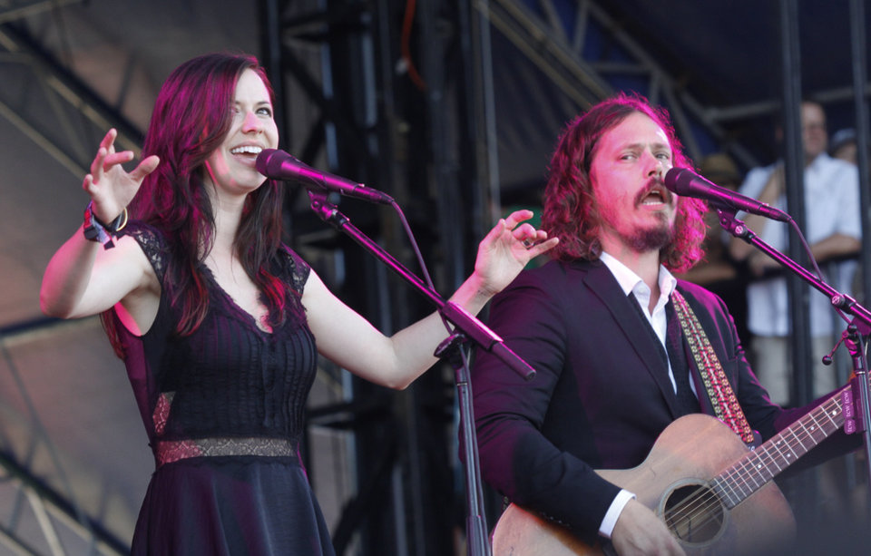 FILE - This Oct. 14, 2012 file photo shows Joy Williams, left, and John Paul White of The Civil Wars at the Austin City Limits Music Festival in Austin, Texas. Grammy-winning duo The Civil Wars are calling off their upcoming tour dates, citing irreconcilable differences. Folk-pop duo Joy Williams and John Paul White released a statement Tuesday announcing that they are