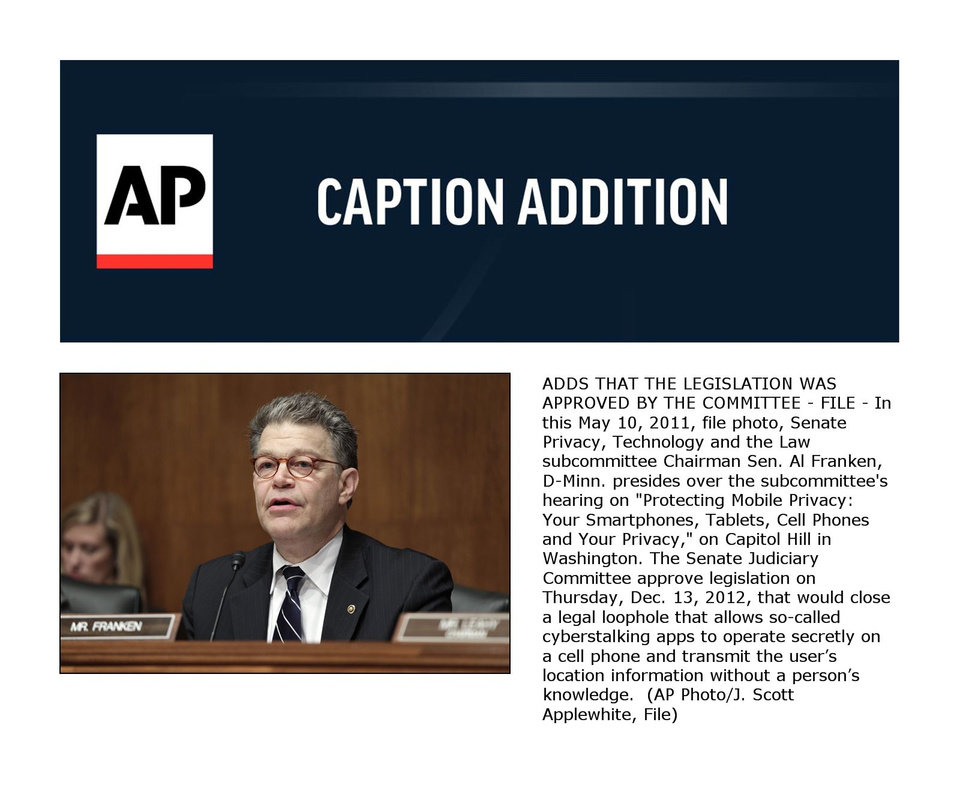 Photo - ADDS THAT THE LEGISLATION WAS APPROVED BY THE COMMITTEE - FILE - In this May 10, 2011, file photo, Senate Privacy, Technology and the Law subcommittee Chairman Sen. Al Franken, D-Minn. presides over the subcommittee's hearing on