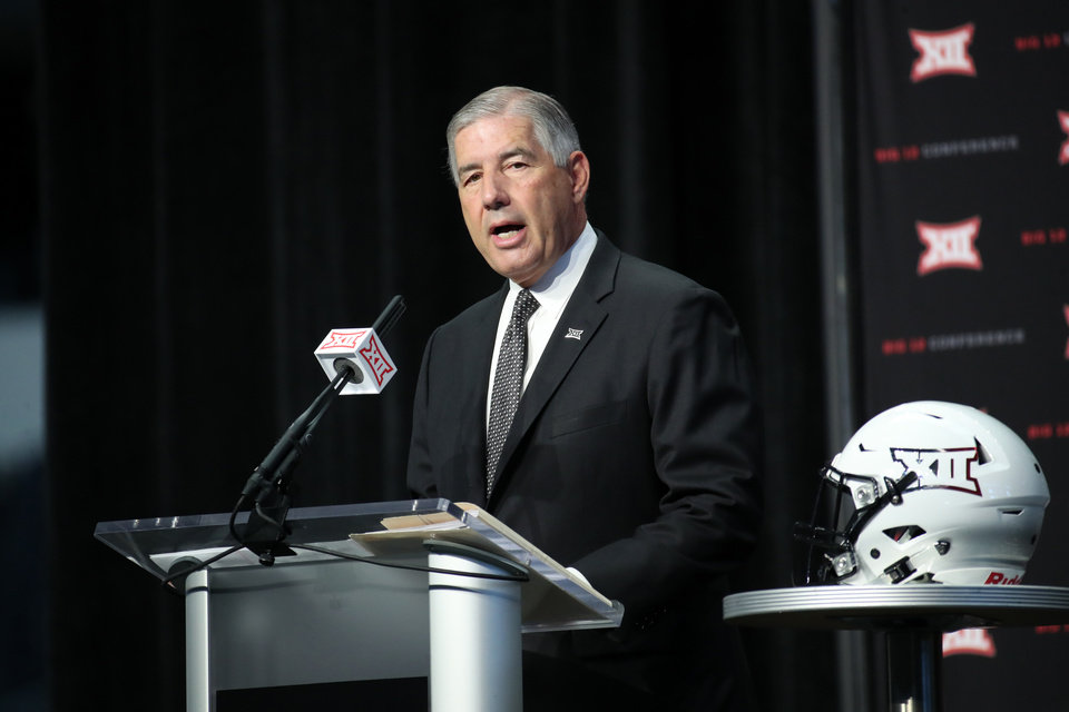 Photo - Jul 15, 2019; Arlington, TX, USA; Big 12 commissioner Bob Bowlsby speaks to the media during Big 12 media days at AT&T Stadium. Mandatory Credit: Kevin Jairaj-USA TODAY Sports