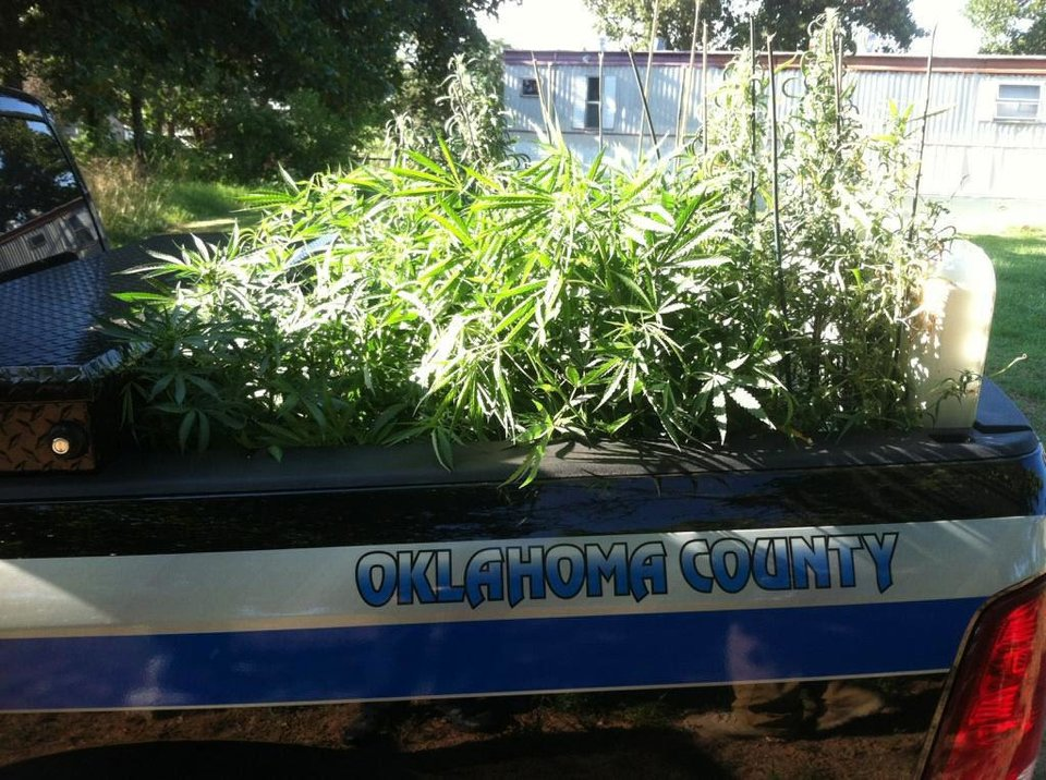 Oklahoma County sheriff's office deputies assisting Oklahoma State Bureau of Investigation agents discovered a hydroponic marijuana-growing operation at 6300 S Indian Meridian in Choctaw. Photo PROVIDED