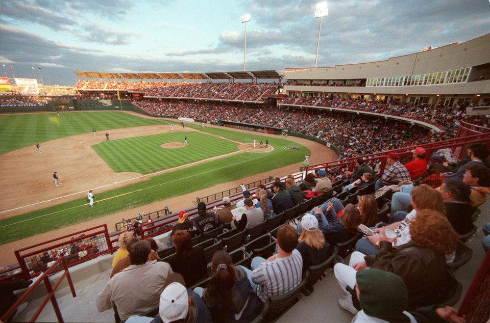 This 1998 photo shows fans attending the first baseball game at what is now called Chickasaw Bricktown Ballpark, which was paid for by the original MAPS tax. The tax is widely credited with fueling Oklahoma City's ongoing renaissance. <strong>DOUG HOKE - The Oklahoman archive</strong>