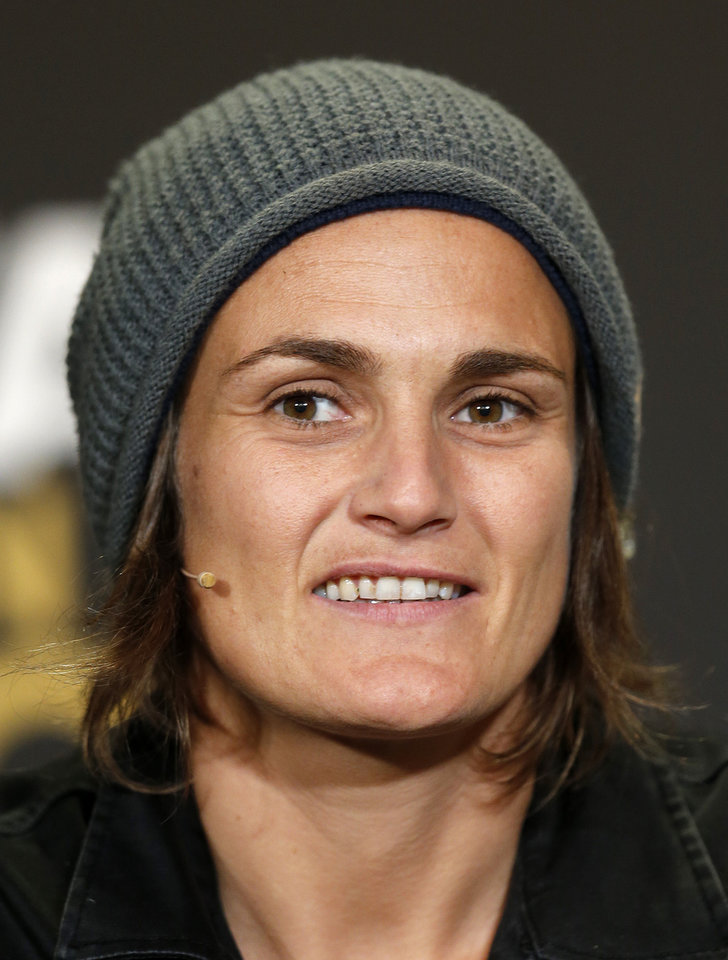 Photo - Germany's Nadine Angerer, one of three nominees for Women's world soccer  player of the year,  attends  a press conference prior to the FIFA Ballon d'Or 2013 Gala in Zurich, Switzerland, Monday, Jan. 13, 2014. (AP Photo/Michael Probst)