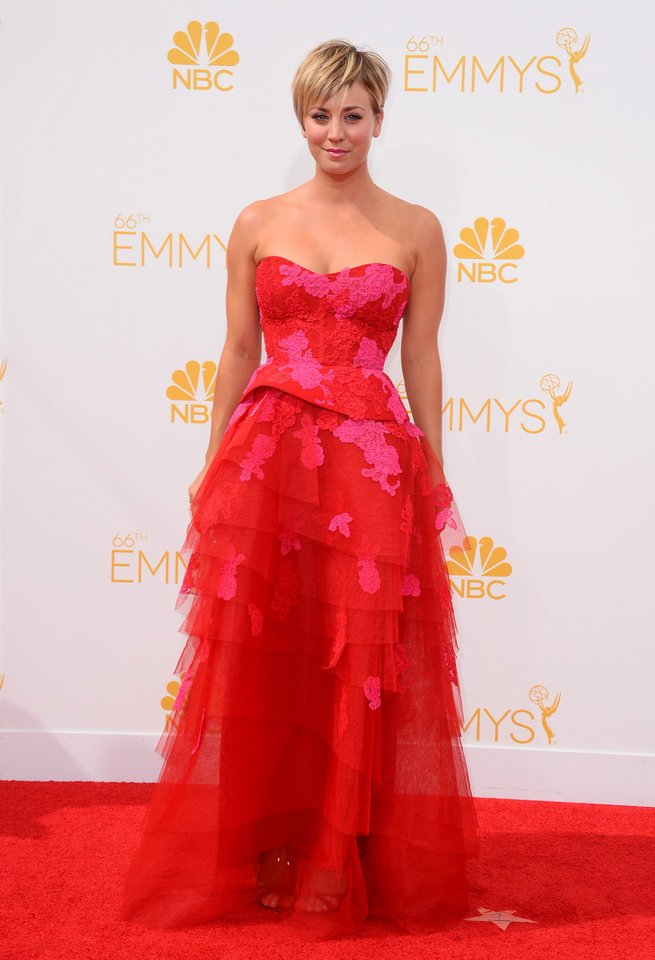 Photo - Kaley Cuoco arrives at the 66th Annual Primetime Emmy Awards at the Nokia Theatre L.A. Live on Monday, Aug. 25, 2014, in Los Angeles. (Photo by Jordan Strauss/Invision/AP)