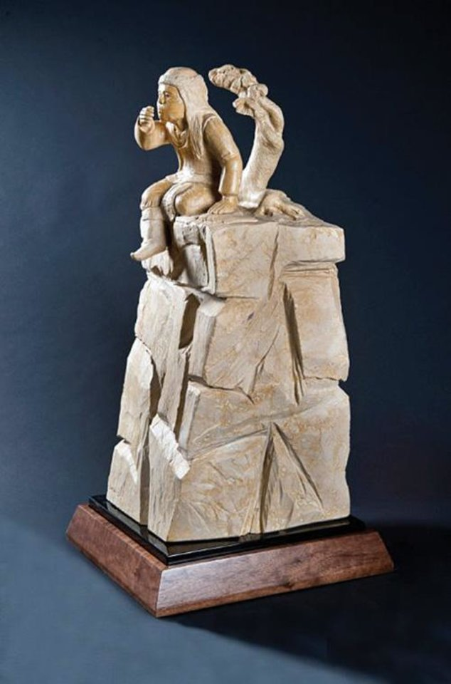 "Photo -  Doug Hyde's ""Singing With the Coyotes,"" Spanish marble, priced at $22,000. Photo provided"