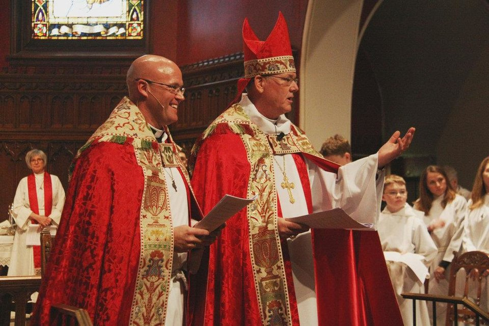 The Rev. Justin Lindstrom, dean of St. Paul\'s Episcopa Cathedral, stands with the Rt. Rev. Edward Konieczny, bishop of the Episcopal Diocese of Oklahoma, at Lindstrom\'s Jan. 26 installation service at the cathedral, 127 NW 7 in Oklahoma City. Photo provided