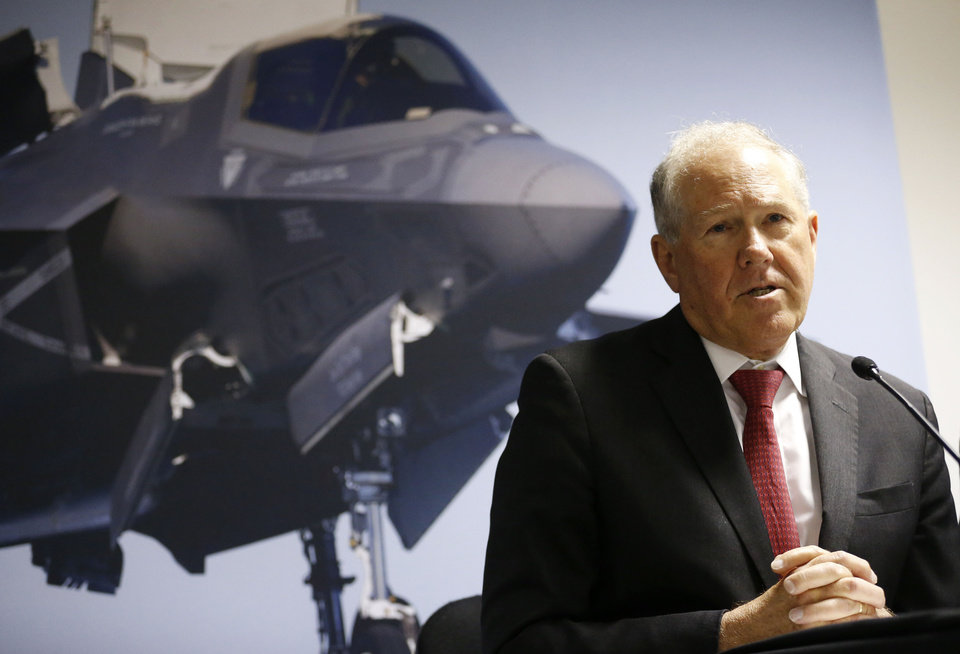 Photo -  U.S. Undersecretary of Defense for Acquisition, Technology and Logistics Frank Kendall updates the media on Lockheed Martin's F-35 Lightning II fighter jet during a news conference at the Farnborough International Airshow, Farnborough, England, on Monday. AP Photo   Sang Tan