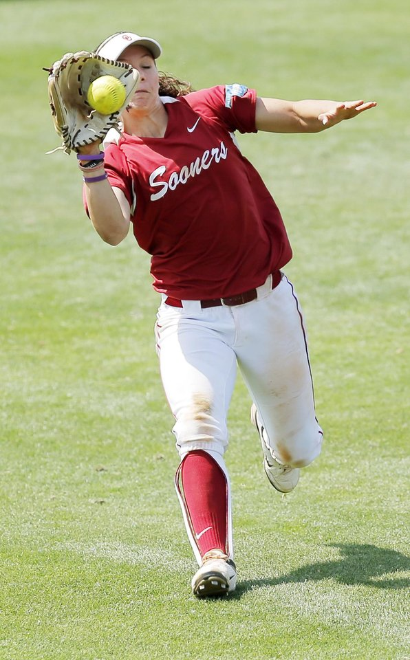 Photo - OU's Callie Parsons (12) makes a catch in the outfield in the 7th inning during the final game of the Norman Regional in 2014 NCAA softball championship between Oklahoma and Texas A&M in Norman, Okla., Sunday, May 18, 2014. OU won 11-6. Photo by Nate Billings, The Oklahoman