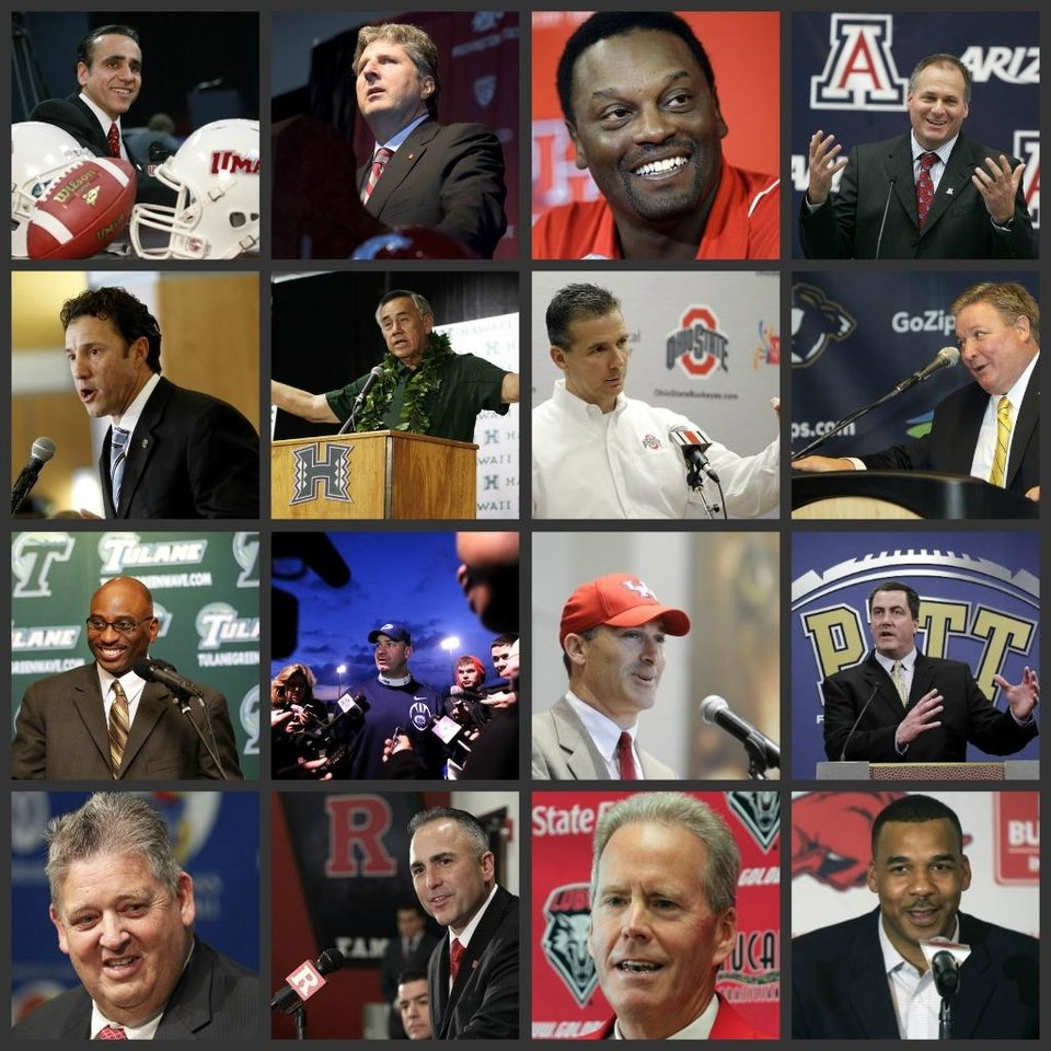 <b>College football: Ranking the 26 coaching changes</b> <br /> We've had 26 head-coaching changes in major college football from last season. That's a lot. We had 21 last season, 23 the year before. Who did the best job of hiring? Who did the worst? <i>The Oklahoman's</i> Berry Tramel ranks the hires, one through 26. This isn't based just on who is the best coach. It's based on the best fit.