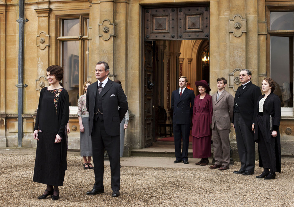 Photo - This undated publicity photo provided by PBS shows, from left, Elizabeth McGovern as Lady Grantham, Hugh Bonneville as Lord Grantham, Dan Stevens as Matthew Crawley, Penelope Wilton as Isobel Crawley, Allen Leech as Tom Branson, Jim Carter as Mr. Carson, and Phyllis Logan as Mrs. Hughes, from the TV series,