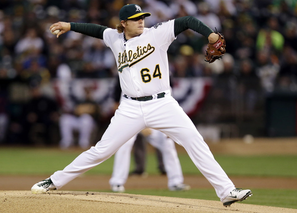 Oakland Athletics pitcher A.J. Griffin delivers in the first inning of Game 4 of their American League division baseball series against the Detroit Tigers in Oakland, Calif., Wednesday, Oct. 10, 2012. (AP Photo/Marcio Jose Sanchez)