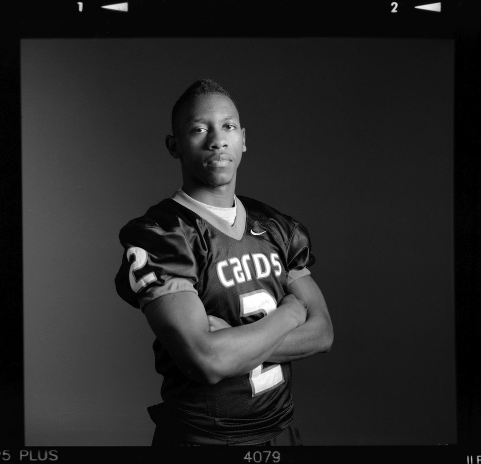 Photo - All-State high school football player Stanvon Taylor of Tulsa East Central poses for a photo in Oklahoma City,  Monday, Dec. 17, 2012. Photo by Nate Billings, The Oklahoman