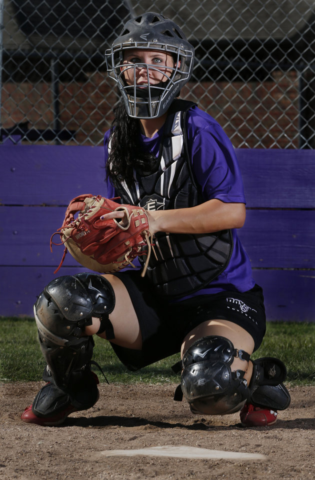 Photo - Community Christian catcher Niki Davidson takes pitches on Wednesday, Sept. 19, 2012, in Norman, Okla.  Photo by Steve Sisney, The Oklahoman