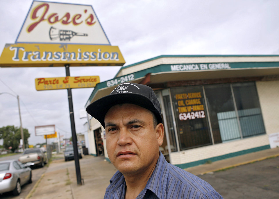 Photo - JOSE'S TRANSMISSIONS: Jose Realzola poses around his shops near SW 44th and Western in Oklahoma City on Tuesday July 9, 2008. By John Clanton, The Oklahoman ORG XMIT: KOD