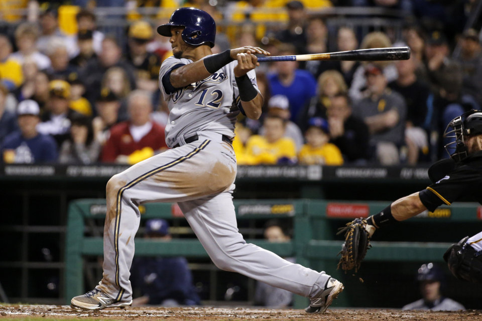 Photo - Milwaukee Brewers' Martin Maldonado drives in Scooter Gennett with a single off Pittsburgh Pirates starting pitcher Charlie Morton during the fourth inning of a baseball game in Pittsburgh on Friday, April 18, 2014. (AP Photo/Gene J. Puskar)