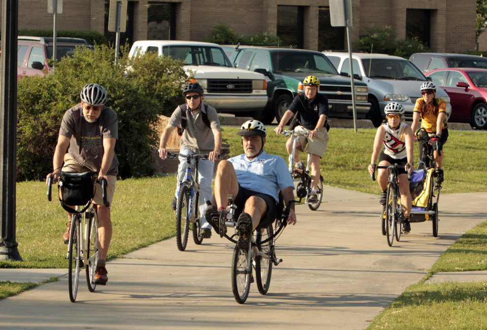 "Bicycle riders arrive for a ""Bike to Work"" event at Andrews Park on Friday, May 18, 2012, in Norman, Okla.  Photo by Steve Sisney, The Oklahoman"