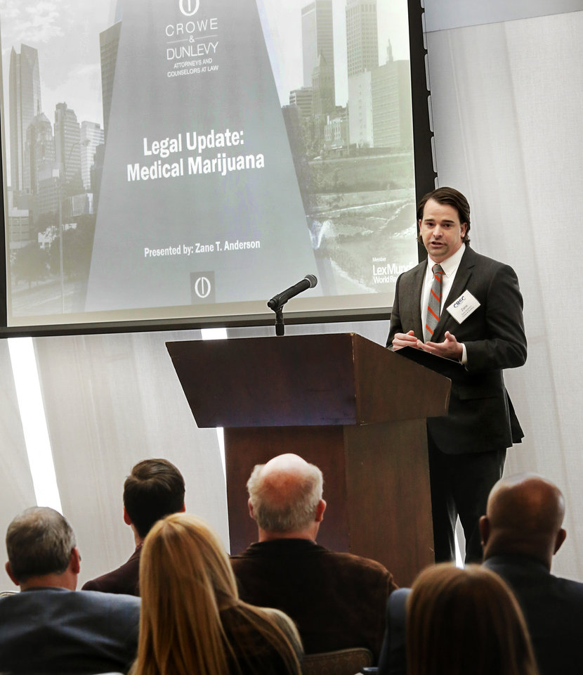 Photo -  Attorney Zane Anderson, with Crowe & Dunlevy, talks about medical marijuana at the Commercial Real Estate Council of Oklahoma City's 2019 Forecast Conference at Vast.  [JIM BECKEL/THE OKLAHOMAN]
