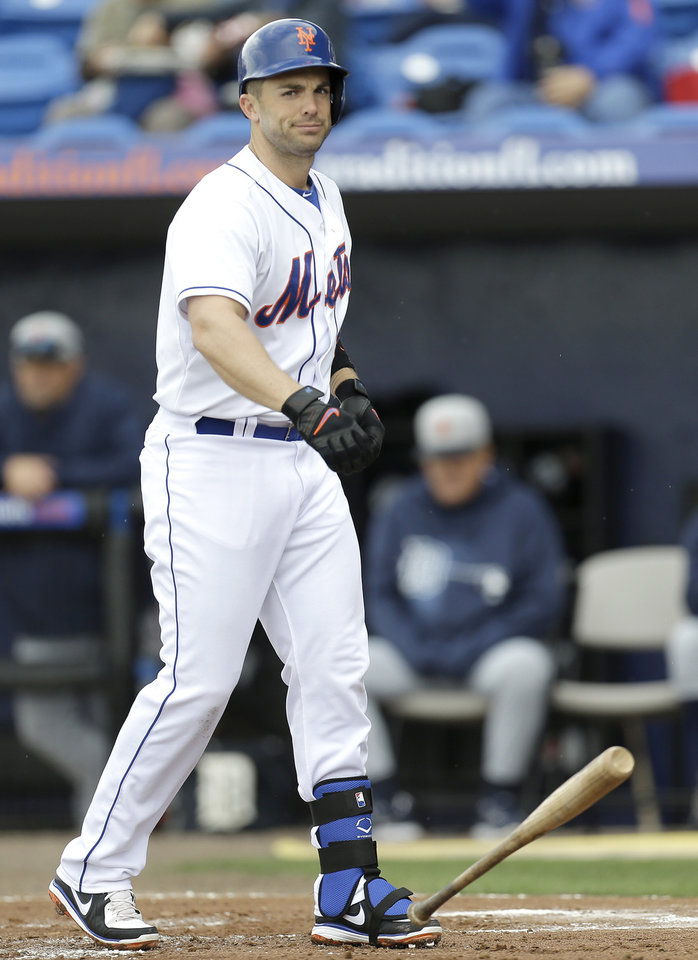 New York Mets' David Wright reacts after striking out against Detroit Tigers pitcher Justin Verlander during the first inning of an exhibition spring training baseball game, Friday, March 1, 2013, in Port St. Lucie, Fla.  (AP Photo/Julio Cortez)