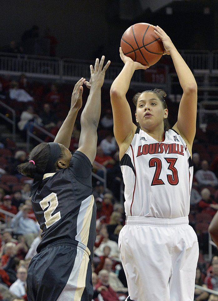 Photo - Louisville's Shoni Schimmel, right, shoots over the defense of Central Florida's Andrea Hines during the second half of an NCAA college basketball game on Wednesday, Jan. 15, 2014, in Louisville, Ky. Louisville defeated UCF 75-56 and Schimmel led her team with 27 points. (AP Photo/Timothy D. Easley)