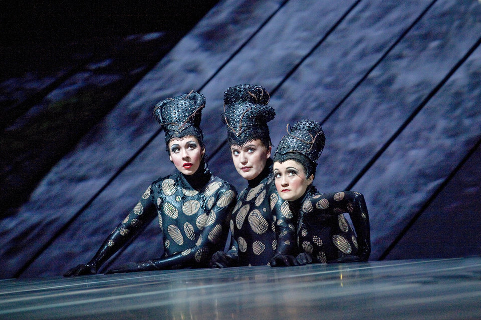 Photo -   This Jan. 19, 2012 photo provided by the Metropolitan Opera shows, the Rhinemaidens, from left, Tamara Mumford as Flosshilde, Jennifer Johnson Cano as Wellgunde, and Erin Morley as Woglinde in Wagner's,