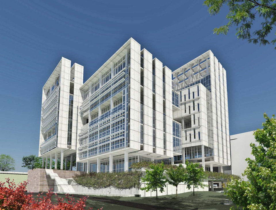 Photo - OKLAHOMA MEDICAL RESEARCH FOUNDATION / OMRF: Rendering of new building planned by Oklahoma Medical Research Center, ORG XMIT: KOD