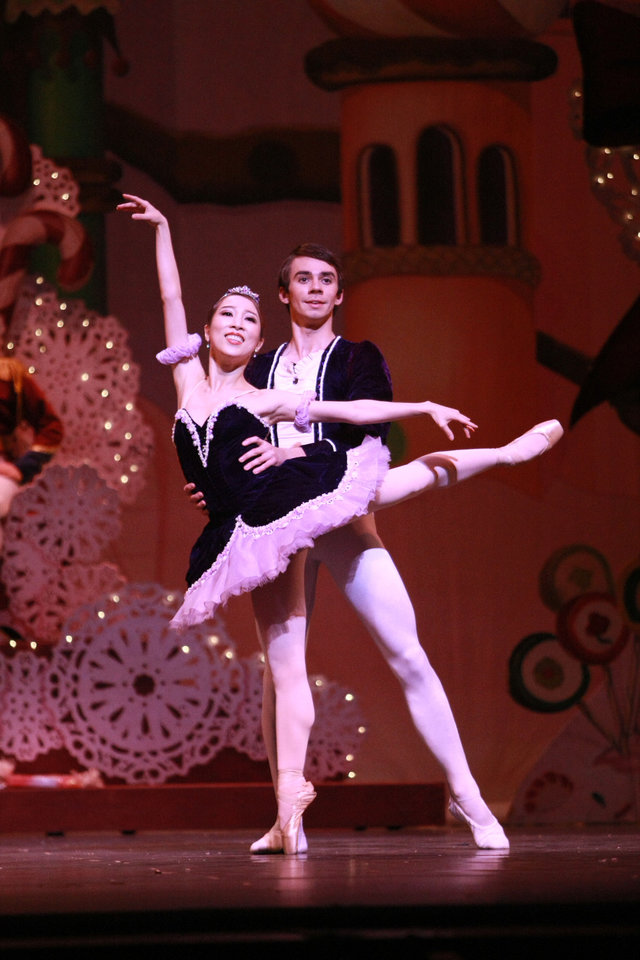 Photo - DaYoung Jung appears as the Sugar Plum Fairy and Alvin Tovstogray as the Cavalier in Oklahoma City Ballet's production of