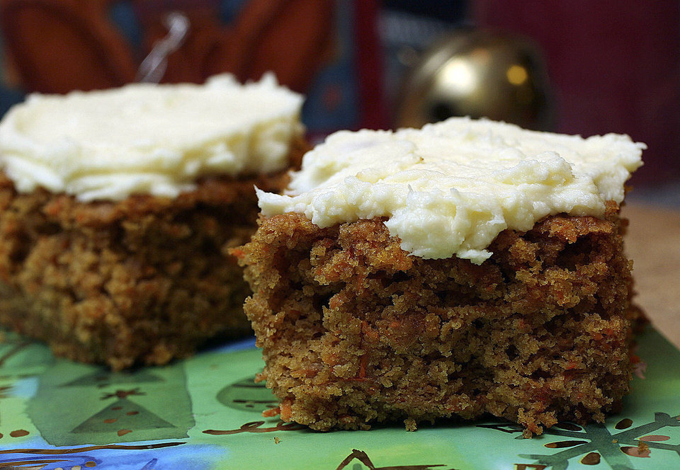 This Carrot Cake with Cream Cheese Frosting is an indulgence packed whole grains, vegetables and mostly healthy fats. AP Photo/Larry Crowe LARRY CROWE - AP