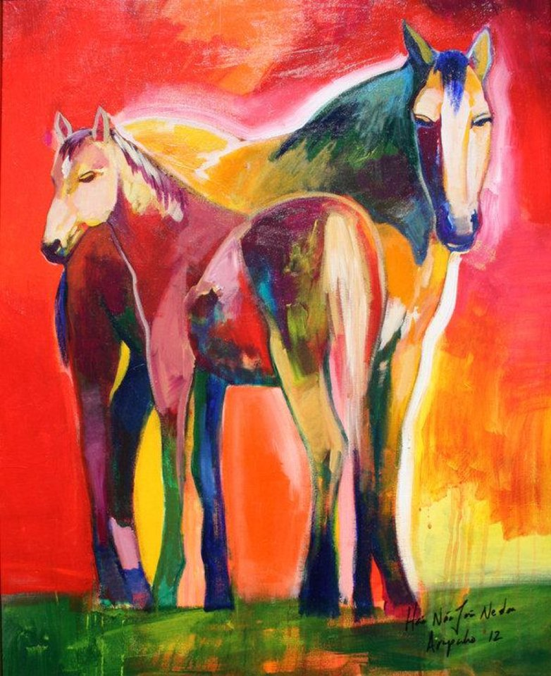 """Photo - Left: """"Mother and Calf,"""" an acrylic by Brent Learned. Photos provided"""