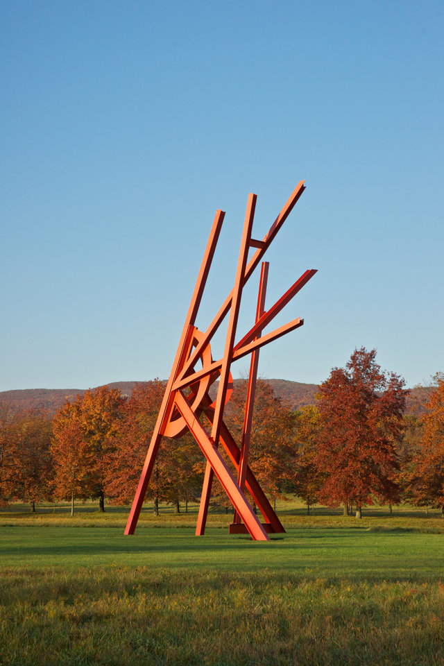 """Photo - This undated image provided by Storm King Art Center in New Windsor, N.Y., shows """"Jambalaya,"""" by Mark Di Suvero, one of more than 100 outdoor sculptures at the unique art park set amid rolling hills and fields in the Hudson Valley, just north of New York City. It's one of a number of destinations in the region, and autumn is a particularly nice time of year to visit. (AP Photo/Storm King Art Center)"""