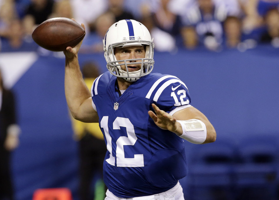 Photo - Indianapolis Colts quarterback Andrew Luck throws against the New Orleans Saints during the first half of an NFL preseason football game in Indianapolis, Saturday, Aug. 23, 2014. (AP Photo/AJ Mast)