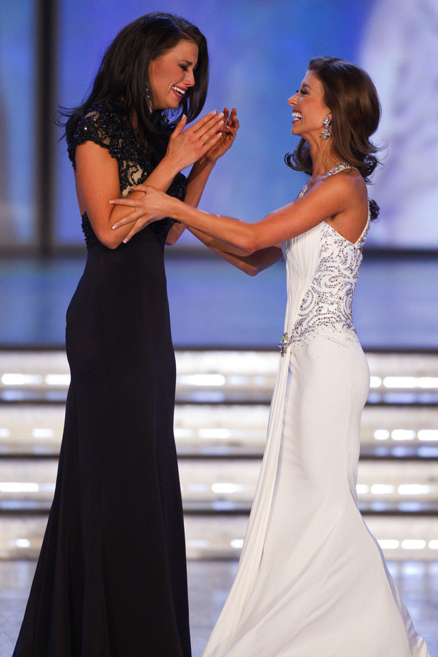 Photo -   Miss Wisconsin Laura Kaeppeler, left and Miss Oklahoma Betty Thompson react after Kaeppeler is named Miss America Saturday Jan. 14, 2012 at The Planet Hollywood Resort & Casino in Las Vegas. (AP Photo/Eric Jamison)
