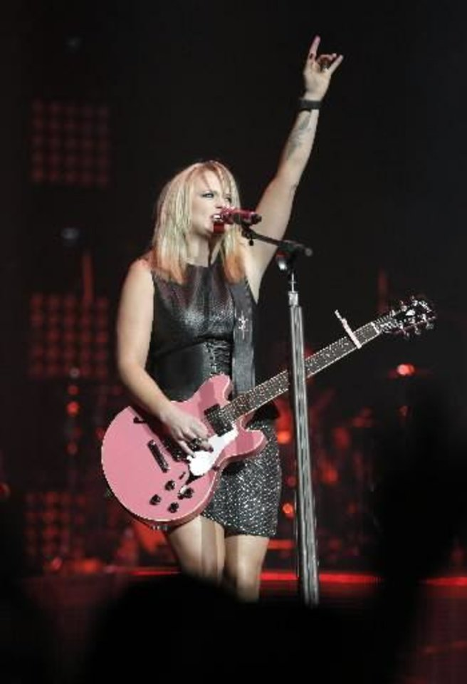 Tishomingo resident Miranda Lambert performs at the Chesapeake Energy Arena in Oklahoma City, Friday, March 8, 2013. Photo by Garett Fisbeck, For The Oklahoman