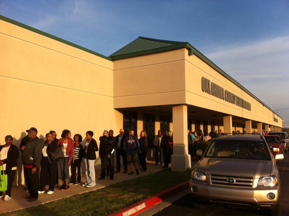 People line up to vote early at the Oklahoma County Election Board Friday morning. Photo by Robert Medley