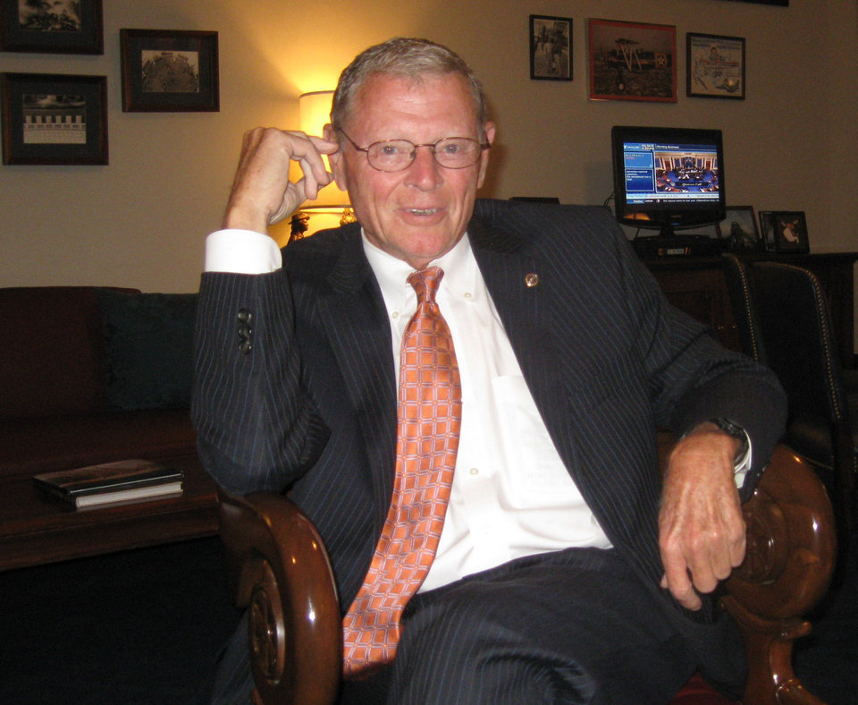 Sen. Jim Inhofe sits in his Capitol Hill office last week during an interview. <strong>Chris Casteel - The Oklahoman</strong>