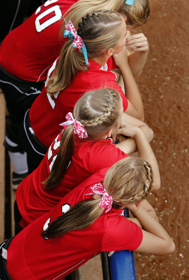 Braids are in fashion for Purcell players as the play Tuttle at the 2012 State Fast-Pitch Softball Tournament on Thursday, Oct. 11, 2012 at ASA Hall of Stadium in Oklahoma City, Okla. Photo by Steve Sisney, The Oklahoman