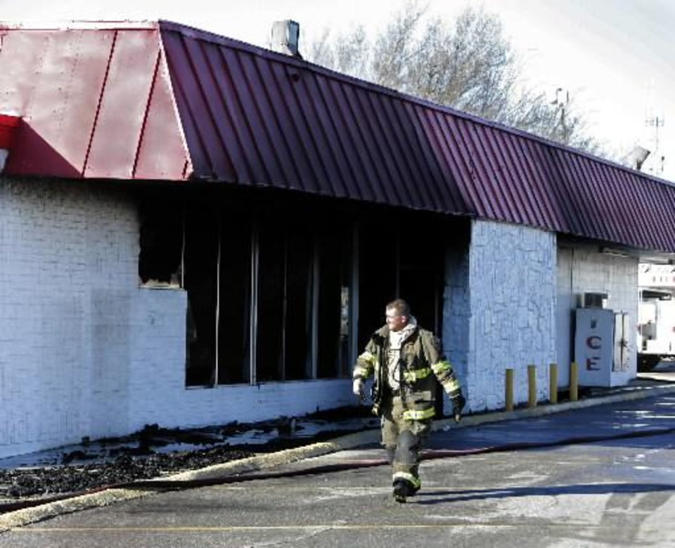 Fire destroyed a grocery store building on Thursday, Feb. 14, 2013 in Tuttle, Okla. Photo by Steve Sisney